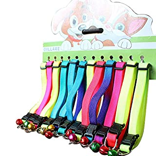 Sobotoo 12 Pure Colour Pet Collar Set,adjustable Colourful Rainbow Cat Dog Kitten Kitty Puppy Collar With Bell (9.4