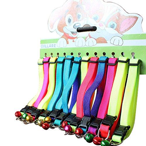 12PCS Verstellbare Pet Rainbow Nylon Kleine Hunde/Welpen Halsbänder personalisierbar Haustiere Halsband mit Glöckchen und Schnalle