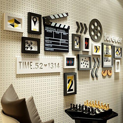 12 Multi cadres photo ensemble industriel Style minimaliste Photo en bois mur chambre étude salon mur photo cadre portefeuille @The harvest season (Couleur : A)