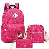Minetom 3 Teile Set Fashion Damen Canvas Groß Schulrucksack Kuriertaschen Geldbeutel für Teen Rosa