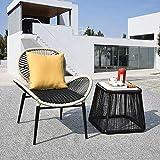 HECHEN Lazy Lounger - Rattan Nordic Simple Lounge Chair - Einzelsofa - Balkon Freizeit Tisch und Stuhl Set,A