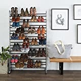 AmazonBasics Shoe Rack for 50 Pairs of Shoes, Chrome