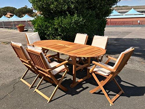Tavolo Sedie Legno Acacia.Eurolandia 87831 Set Da Giardino In Legno Di Acacia Tavolo Ovale