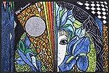 Gigi Banini Fußmatte Blaue Blume von Salonloewe Designermatte waschbar , Größe:50 x 75 cm