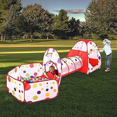 MAIKEHIGH interior / exterior túnel del juego y la tienda del juego de Cubby de Tubo Tipi 3 en 1 zona de juegos infantil para bebés Juguetes para niños BOLAS NO