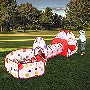 Specifica:  Materiale: poliestere + filo di acciaio Colori: puntini rossi + colorati Dimensione:  Formato piegato: 50 x 60 x 2cm (con parte mobile),  Palla dimensioni della piscina circa: 120 x 102 x 78 centimetri,  dimensione Tunnel: 112 x 4...