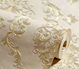 YUELA Fernsehen Hintergrund Tapete europäischen Luxus Wohnzimmer Damaskus Schlafzimmer einfache Tapete Vlies 3D-fine Druck, SYJA 701-4-Licht gelber Reis gelb, Wallpaper nur