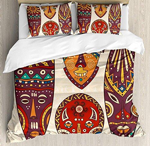 Tiki Bar Decor 3-teiliges Bettwäsche-Bettbezug-Set, dekorative Maskendesigns, Muster afrikanischer Aborigine-Kunst, kultureller ethnischer Druck, 3-teiliges Tröster- / Qulit-Bezug-Set mit 2 Kissenbez -