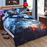 3D Galaxy Star 4Piece Print Bettbezug Baumwolle Queen Size Bettwäsche Set Outer Space Universe (duver Cover + Bettlaken