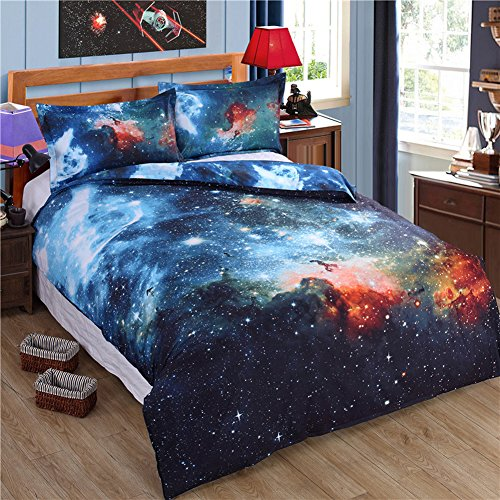 e Print Bettbezug Baumwolle Queen Size Bettwäsche Set Outer Space Universe (duver Cover + Bettlaken + 2 pillowcses) (Tröster Cover Queen Baumwolle)