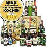 Bier kalt stellen ist auch irgendwie kochen | Präsentkorb 24x Bier der Welt und Deutschland | Biergeschenk Box mit Bieren der Welt und Deutschland INKL 6x Geschenk Karten für jeden Anlass + 1x Bier-Bewertungsbogen + 3 Urkunden | Personalisierte Geschenkbox - Bier mit Bieren der Welt und Deutschland kalt stellen ist auch irgendwie kochen | Biergeschenk Geschenkideen Bier kalt stellen ist auch irgendwie kochen Männer Geschenke Geschenke Mann Geschenkidee Männer