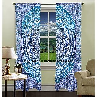 indien hippie Rideaux Bohème psychédélique Ombre-mandala Wall-hanging-tapestry-blue Queen-size-large-82X 208,3cm Exclusive Vendu par Handicraft-palace...