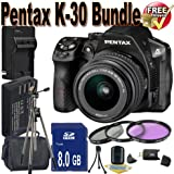 Pentax K30 Digital Camera With 18-55mm Lens Kit (Black) + 8GB SDHC Class 10 Memory Card + Extended Life Battery Accessory Saver Bundle!