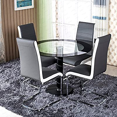 Round Clear Black Side Glass Dining Table Set 4 Grey White Faux Leather Chairs - inexpensive UK light shop.