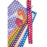 SATYAM KRAFT (Pack of 10) 28 * 19 Inches Gift Wrapping Paper with Free 10 Gift Tags (Polka Dot Mix Color)