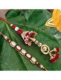 Tied Ribbons Rakhi and Lumba for Bhaiya and Bhabhi with Rakshabandhan Special Card and Roli Chawal