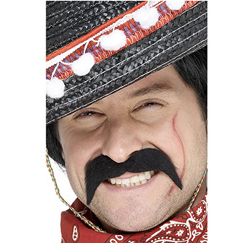 art klassischer Bart Mexikaner braun selbstklebend Schnäuzer (Bart Und Schnurrbart Kostüm)