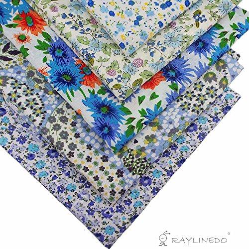 RayLineDo® 5 Verschiedene Muster hellblau 100% Baumwolle Popeline Fett Quartal Bündel 46 x 56 Smart klein (ca. ox 18