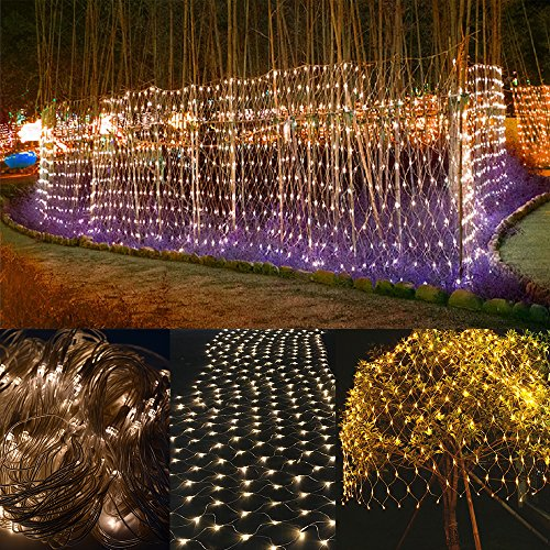 Bestface® LED Netzleuchten USB 5V LED Lichterketten Outdoor Party Weihnachten Weihnachten Hochzeit Hausgarten Dekorationen 8 Modi für Blinken 3m x 2m 200 LED-Leuchten (Warmweiß) (Für Bäume Weihnachten-mesh)