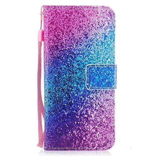 Samsung Galaxy S8 Plus Hülle, Edaroo Schön Pink Blau Gradient Muster Ultra Slim PU Leder Brieftasche mit Kreditkarte Tasche Magnetisch Schutzhülle Ledertasche Lederhülle für Samsung S8 Plus