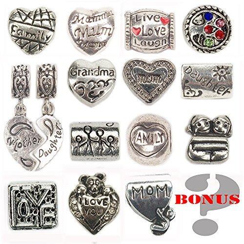 Charme Personalisierte Armband, Familie antik silber Perlen mit mehreren Herzen Pandora Schlange Kette. Von Charme