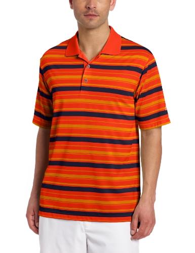 adidas Golf Herren Poloshirt Climalite Bar Stripe, Herren, Lobster/Sunset, Medium