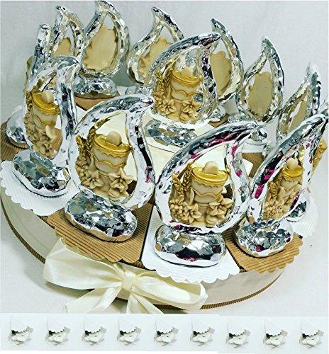 Torta bomboniera comunione femmina maschio confetti crispo oggetti immagine sacra della comunione (torta 12 fette + centrale goccia)