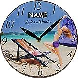 alles-meine.de GmbH Wanduhr aus Holz -  Life´s a Beach - Sommer - Urlaub / Strand  - inkl. Name - Ø 23,5 cm groß - schleichendes Uhrwerk ! - sehr leise ! - Uhr - Analog - Wohnz..