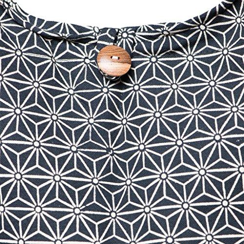 Panasiam© Schulterbeutel, hier in 2 Größen, neuen Design & vielen Farben, mit EXTRA Innenstoff sowie Handy -Innentasche, 1A Qualität Asanoha schwarz