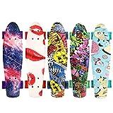 WeSkate 55cm Mini Cruiser Skateboard Gemustertes Retro Board mit stabilen Deck 4 PU-Rollen für Kinder, Jugendliche und Erwachsene
