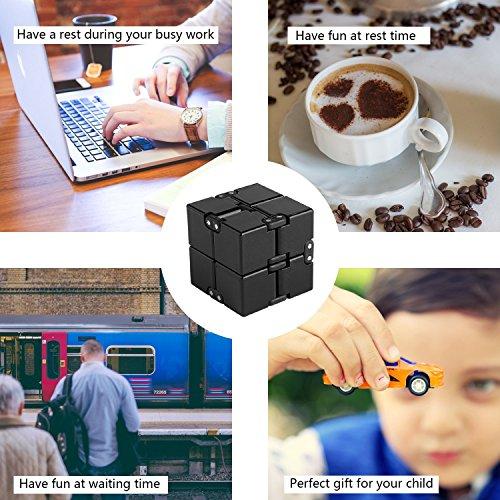 Funxim Infinity Cube Toy per Adulti e Bambini, Nuova Versione Fidget Finger Toy Sollievo dallo Stress e ansia, Killing Time Fidget Toys Cubo Infinito per Il Personale dell'ufficio (Nero) - 5