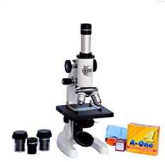 INDIA ESAW SM-02 Student Compound Microscope (Magnification 100X-675X) with 10X and 15X Wide Field Eyepieces Kit (50 Blank Slides, Cover Slips)