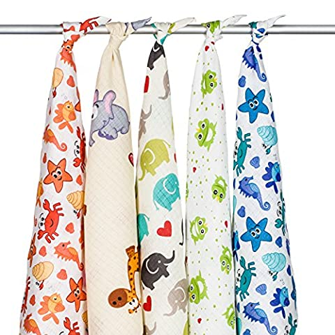 5 x 100% Soft Cotton Baby Muslin Squares, High Quality,