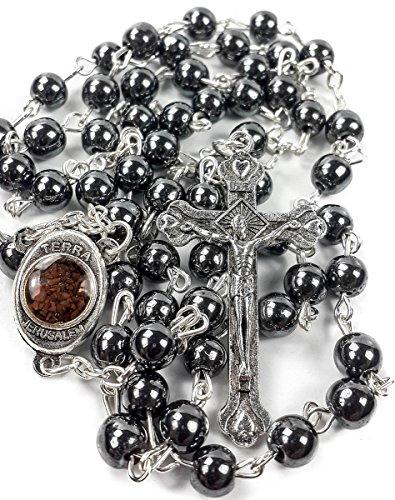 Kostüm 2 Person Einzigartige - Nazareth Market Store Rosenkranz Hämatit, den Schwarzer Stein Lange Kreuz Anhänger Perlen Perlen Halskette Heiliges Land