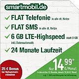 smartmobil.de LTE All [SIM, Micro-SIM und Nano-SIM] 24 Monate Laufzeit (6 GB LTE-Internet mit max 50 Mbit/s inkl. Datenautomatik, Telefonie-Flat, SMS-Flat, 14,99 Euro/Monat in den ersten 12 Monaten, danach 19,99/Monat) O2-Netz
