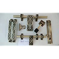HomeDecorax Traders Brass Glorious Hardware Door Fittings Kit (Antique, 32 x 3 x 24 cm) -Set of 6 Pieces