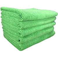 SOFTSPUN Microfiber Cloth (5pcs - 40x60cms -340GSM) Green, Super Soft Absorbent Cleaning Towels Cleans & Polishes…