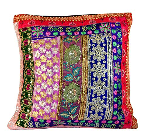 Amazingindia Online Handmade Embroidery Pillow Cases Sequin Patchwork Indian Sari Throw Vintage Jaipuri Cushion Covers Couch Lounge Cushions Sofa Case for Diwali Home Decor Square 1pc Multi