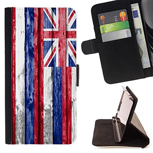 FJCases Hawaii The Aloha State Holzmuster Flagge Tasche Brieftasche Hülle Schale Standfunktion Schutzhülle für Samsung Galaxy A5 (2017)