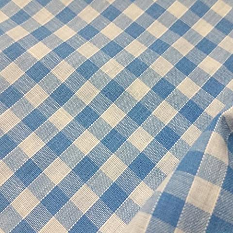 SKY BLUE & WHITE Corded Gingham Fabric Polyester and Cotton 1/4