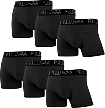Fullluwaa Boxer Shorts Mens (Pack of 6) Cotton Briefs Trunks Fitted Underwear Quick-Dry