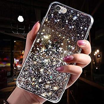 Saceebe Compatible avec Huawei P10 Coque Silicone Paillette Strass Brillante Bling Glitter /Étoile Fille Femmes Housse Transparente TPU Souple Etui Mince Cristal Cover Anti-Choc,Clair