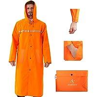 ioutdoor Premium Raincoat Long Reusable with Reflective Tape,Rain Poncho Waterproof Lightweight with Drawstring Hoods…