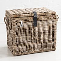Sturdy Woven Wicker Rustic Natural Grey Brown Storage Basket Trunk Chest