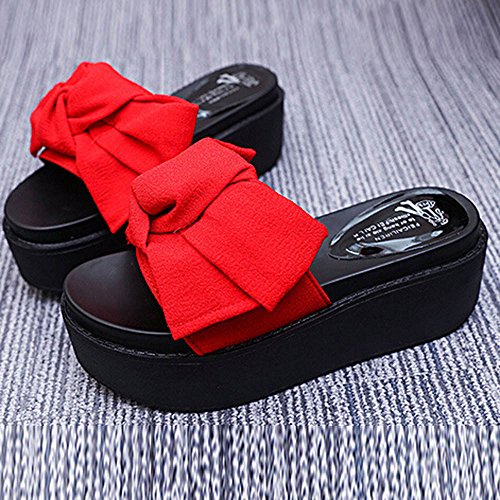 Longra Donna Piattaforma impermeabile Bowknot con pantofole spesse Rosso