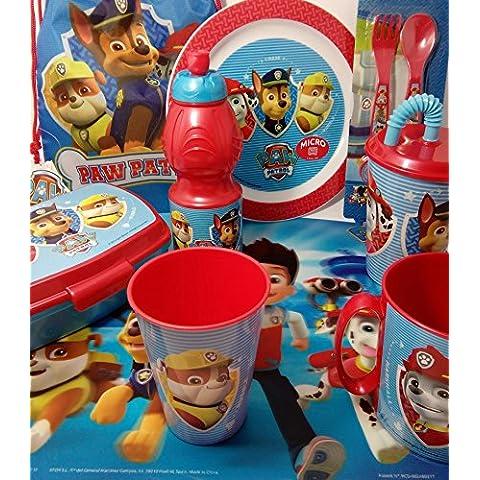 + set/pack vajilla PAW PATROL: salvamantel, vaso, taza, vaso con caña, botellín, plato, sandwichera y cubiertos y 6x lápices