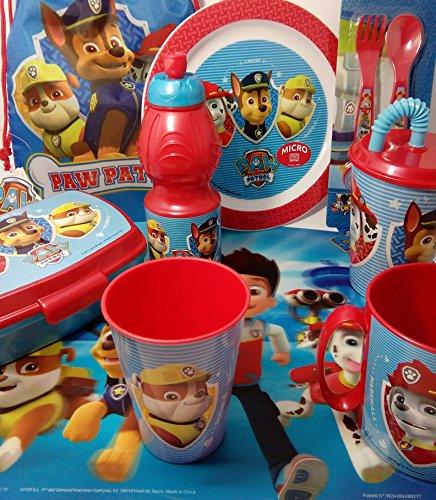 Paw Patrol - Set con tovaglietta americana, bicchiere, tazza, borraccia con cannuccia, bottiglietta, piatto, porta panino e posate (con confezione di calzetti tiendadeleggings in regalo.)