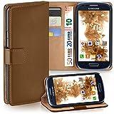 moex Samsung Galaxy S3 Mini | Hülle Braun mit Karten-Fach 360° Book Klapp-Hülle Handytasche Kunst-Leder Handyhülle für Samsung Galaxy S3 Mini S III Case Flip Cover Schutzhülle Tasche