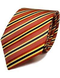 Mexx Seidenkrawatte rot orange grau schwarz gestreift - Tie Krawatte Schlips