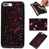 iphone 7 Plus / iphone 8 Plus Silicone Coque, iphone 7 Plus / iphone 8 Plus Bling Diamant Coque en Silicone Coque Clair,Cozy Hut Bling Glitter Étoile étincelante étoilée design étoilé pour iphone 7 Plus / iphone 8 Plus Case Coque Housse Etui Shock-Absorption Bumper et Anti-Scratch Effacer Back pour iphone 7 Plus / iphone 8 Plus - Rose ciel rouge